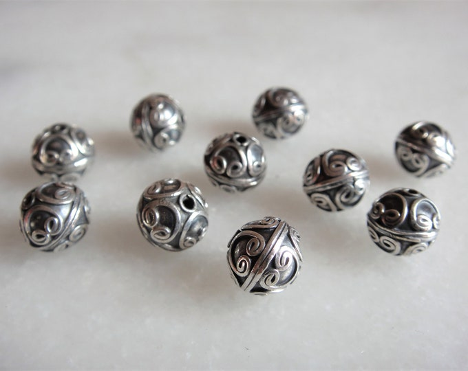 10-bead batch sterling silver beads 8mm 0.31in finely worked / Genuine sterling silver beads Bali bracelet supply silver jewelry Bali beads