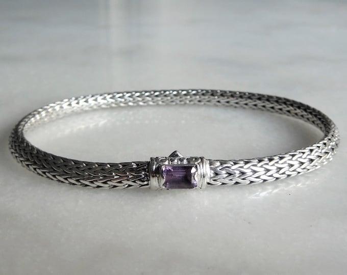 Gorgeous sterling silver bracelet elegant snake chain link set with beautiful purple amethyst / 925 silver bracelet handmade bracelet