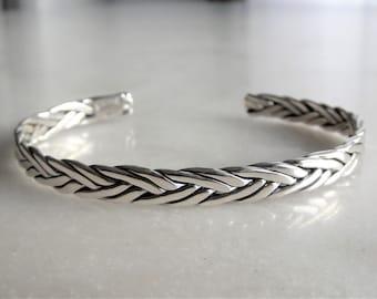 Braided bracelet sterling silver adjustable / Man bracelet silver cuff bracelet sterling silver bracelet for men silver bracelet bangle