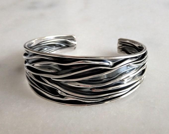 Womens bracelet sterling silver adjustable / Oxidized silver bracelet for woman solid silver bracelet cuff bracelet bangle bracelet
