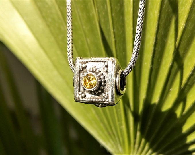 Mens pendant made of sterling silver and gemstone / Sterling silver pendant for men gift for him ethnic jewelry amethyst garnet citrine