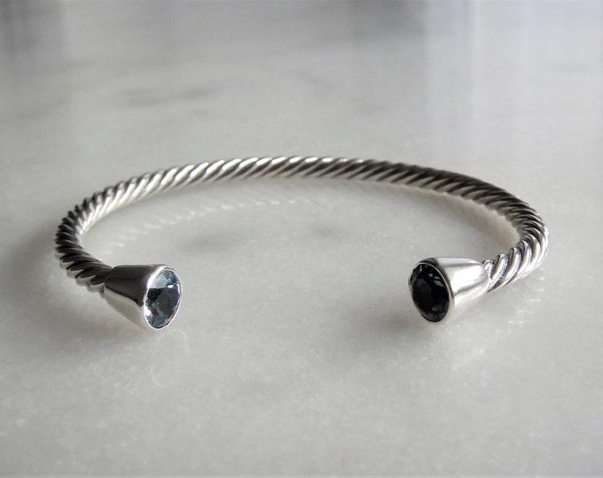 Solid sterling silver bracelet set with 2 beautiful topaz stones / Cuff bracelet bangle bracelet silver twisted cuff gemstone bracelet
