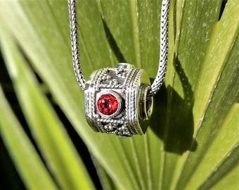 Sterling silver pendant set with gemstone / Silver and gemstone pendant ethnic jewelry amethyst garnet citrine birthday gift