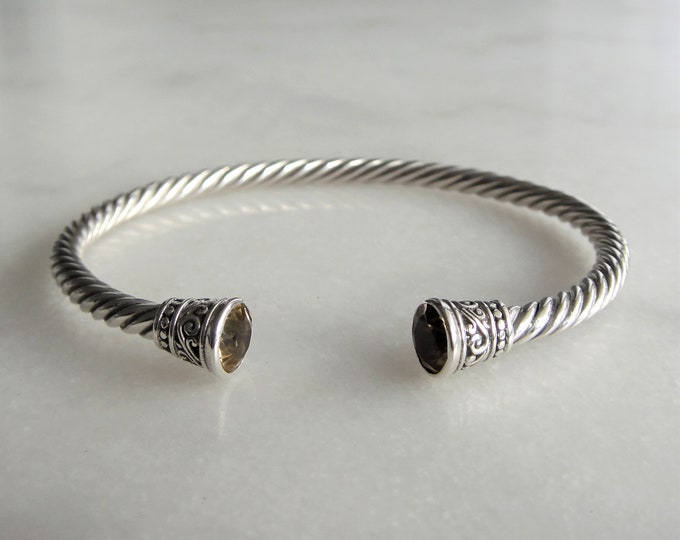 Solid sterling silver bracelet set with 2 beautiful citrine stones / Cuff bracelet bangle bracelet silver twisted cuff gemstone bracelet