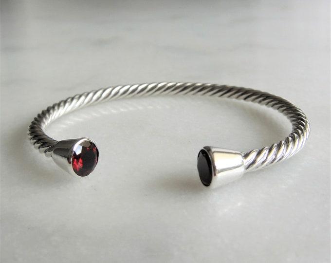 Solid sterling silver bracelet set with 2 beautiful garnet stones / Cuff bracelet bangle bracelet silver twisted cuff gemstone bracelet