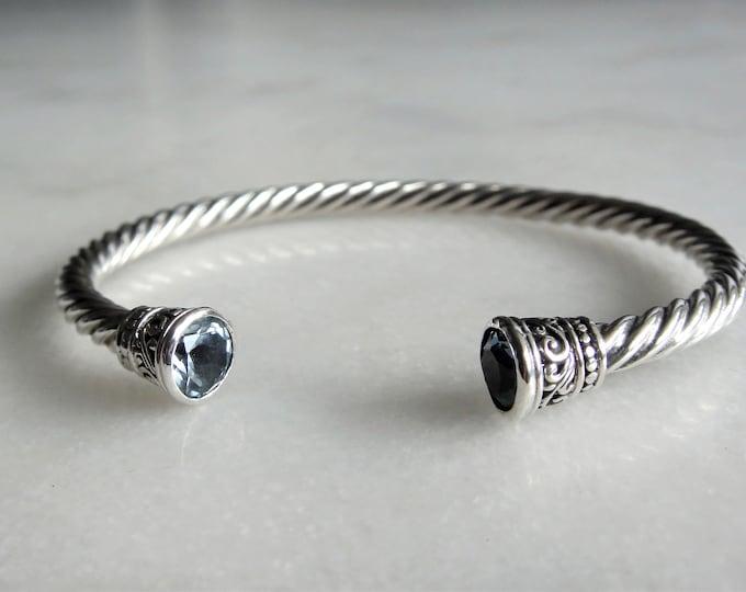 Solid sterling silver mens bracelet set with 2 beautiful topaz stones / Cuff bracelet bangle bracelet silver twisted cuff gemstone bracelet