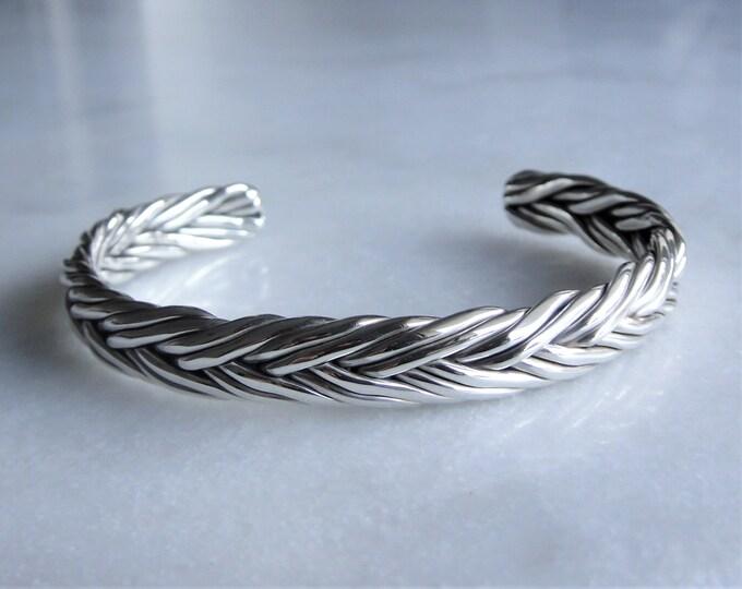 Braided bracelet sterling silver adjustable / Silver cuff bracelet sterling silver bracelet for men silver bracelet mens bangle bracelet
