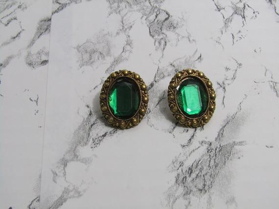 Green gem earrings