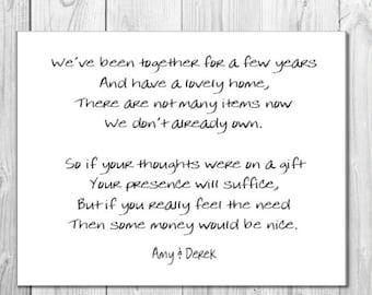 10 x personalised gift poem cards / wedding money wish poem / honeymoon wish poems card invitations inserts