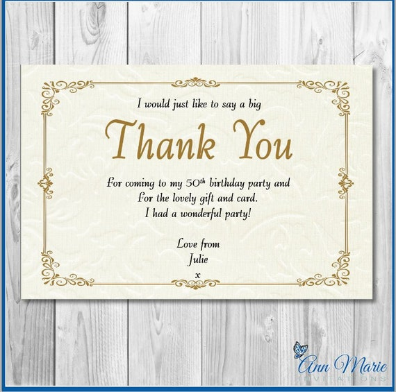 10 X Personalised Gold Birthday Thank You Party Present Cards