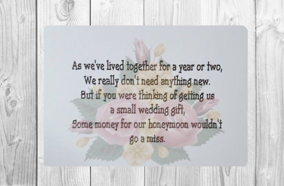 Wedding Gift Poems: 10 X Personalised Wedding Money Wish Poem / Gift Poem