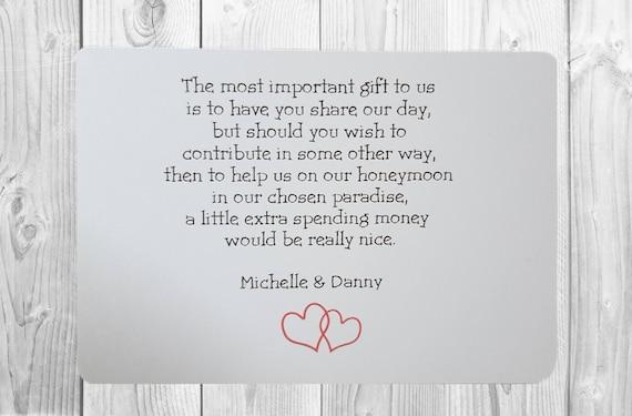 10 X Personalised Wedding Money Wish Poem Gift Poem Cards Etsy