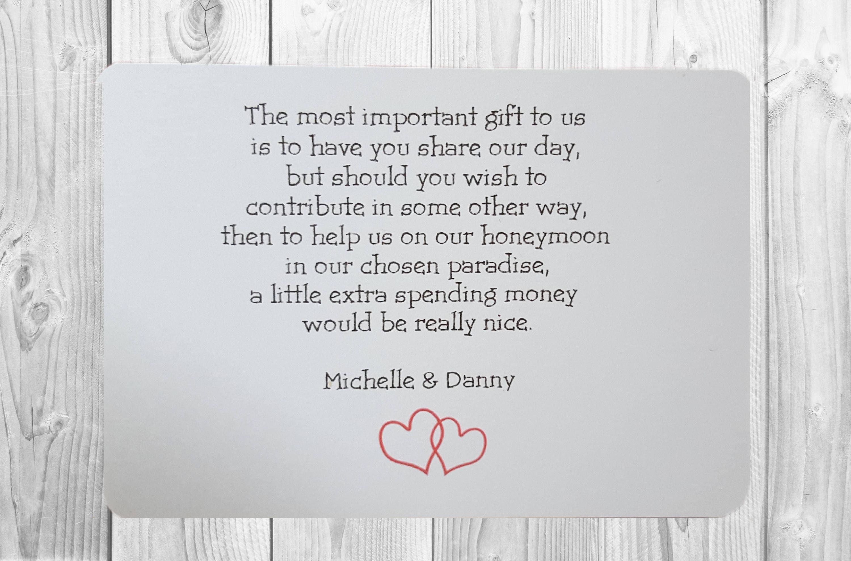 Wedding Gift Poems Asking For Money Towards Honeymoon: 10 X Personalised Wedding Money Wish Poem / Gift Poem