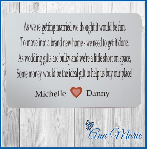 10 X Personalised Wedding Money Wish Poem / Gift Poem