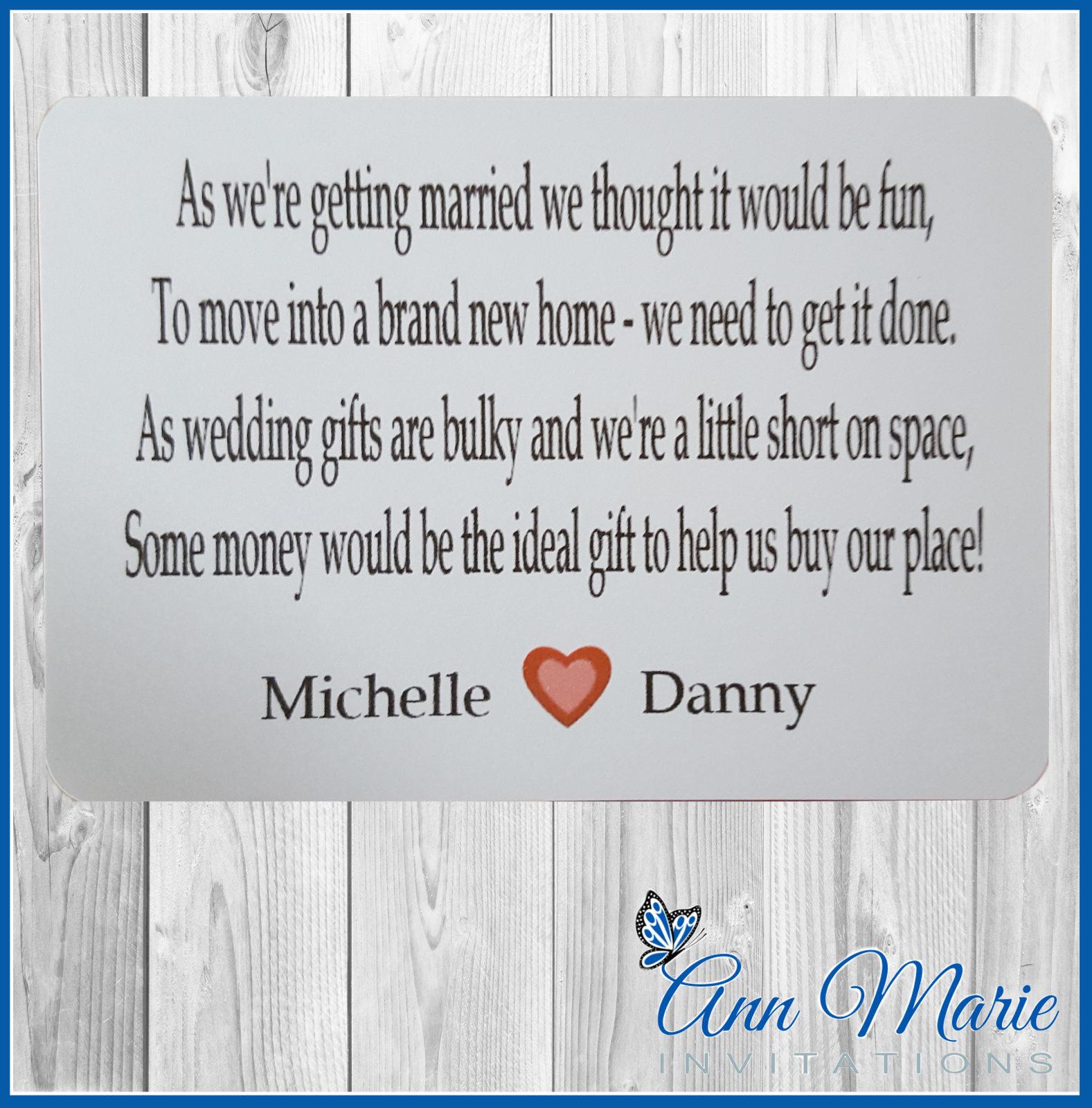 Wedding Gift Poem Cards: 10 X Personalised Wedding Money Wish Poem / Gift Poem