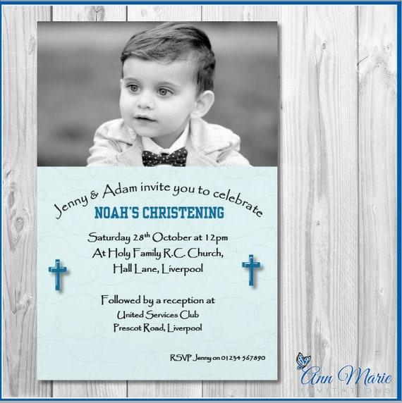 10 Personalised Christening Invitations invites boy