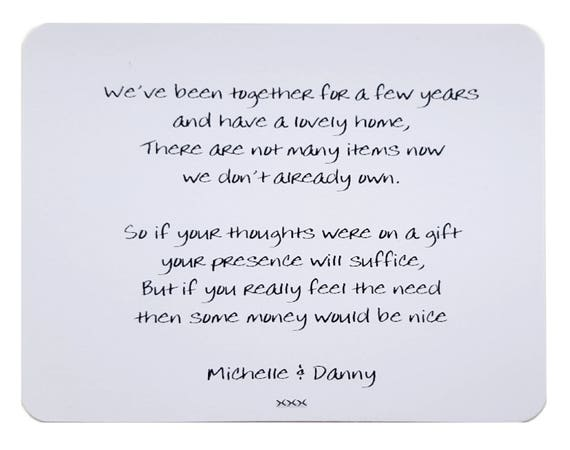 Wedding Gift Poems: 10 X Personalised Gift Poem Cards / Wedding Money Wish