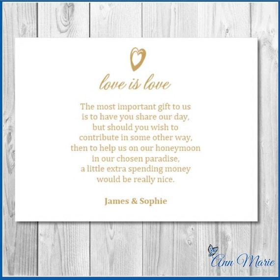 Wedding Gift Poems For Money For Honeymoon: 50 X Personalised Wedding Money Wish Poem / Gift Poem