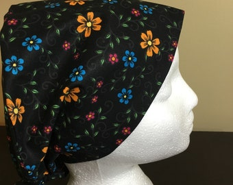 984bc2913d7 Bright Flowers on Black Background Women s Scrub Cap  Hat