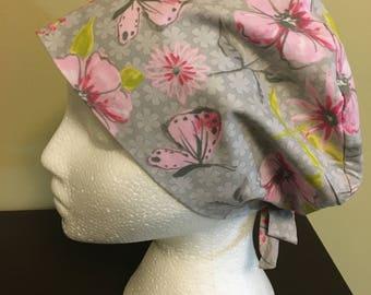 Women's Scrub Cap, Scrub Hat, Surgical Cap grey background with pink flowers & butterflies /nurses/doctors/veterinarian /capsbycarolyncanada