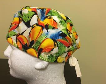 Colourful Tucan  Surgical Scrub Cap / Scrub Hat / Nurse Cap/Great for nurses/doctors/porters/vets/dental surgeons/capsbycarolyncanada