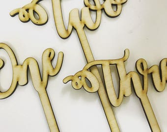 Set of laser cut wedding table numbers