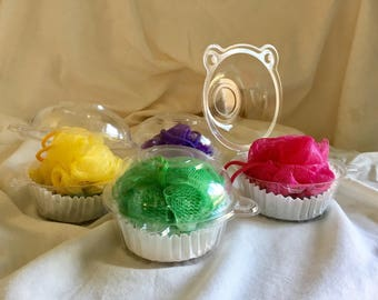 Cupcake Soap and Puff , Shea Butter, Hemp oil and Oatmeal Soap, Shower puff , Christmas gift , party favors