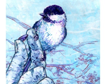 Chickadee Fine Art Print, Gouache Painting, Multiple Sizes Available