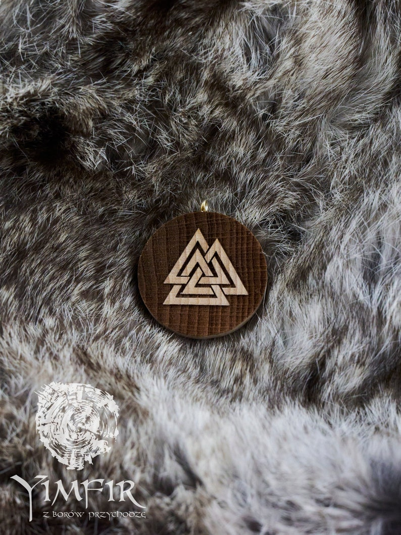 Wooden Viking Pendant Pendant for Viking Valknut Viking Jewelry Viking Necklace