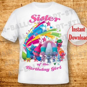 Trolls Poppy Mommy of the Birthday Girl Svg INSTANT DOWNLOAD Custom Matching birthday party shirt Iron on transfer Printable DIY cut file