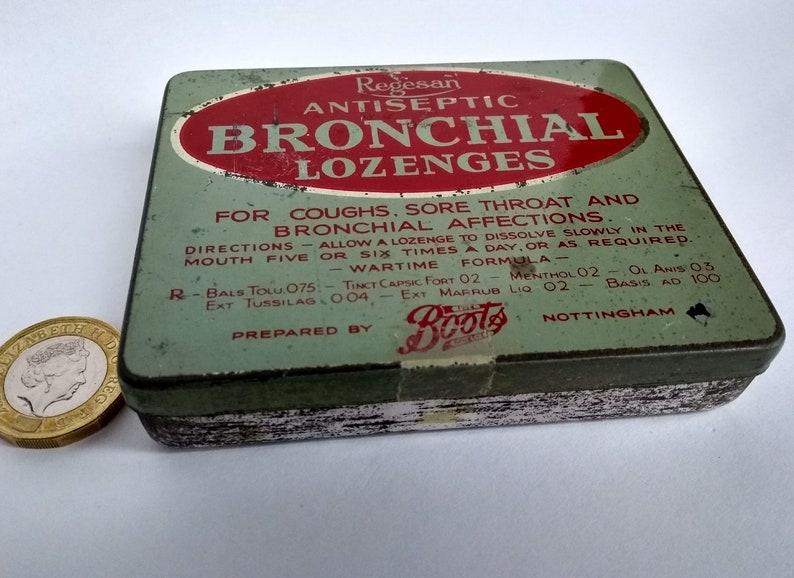 SMALL VINTAGE TIN vintage pastille lozenges tin vintage gift box, vintage decor 1940s throat sweets tin Regesan Bronchial Lozenges tin