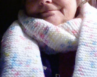 White confetti knitted scarf