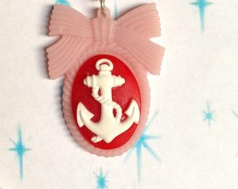 Vintage, pinup, rockabilly, retro anchor cameo pendant