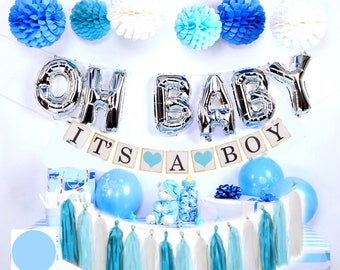 9a746217258 Baby Shower Decoration kit for boy Blue and Silver baby shower OH BABY baby  shower