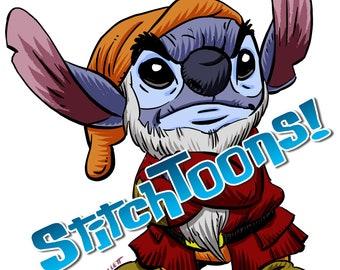 Parody Fan Art of Stitch from Lilo & Stitch - Dressed as GRUMPY!