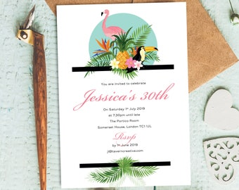 tropical invites etsy