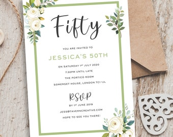 Elegant Birthday Invitations 50th Invites Floral Invitation Lady Rustic Rose Invite