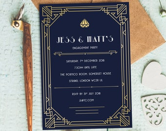 art deco invitations etsy
