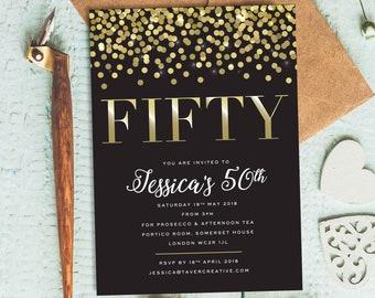 50th Birthday Invitation Black And Gold Invitations 40th 60th Glam Invite