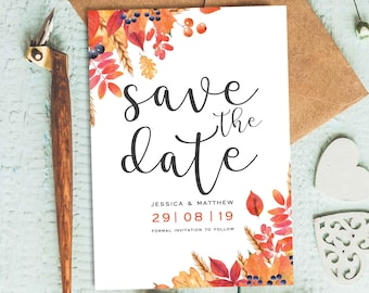 autumn save the date etsy