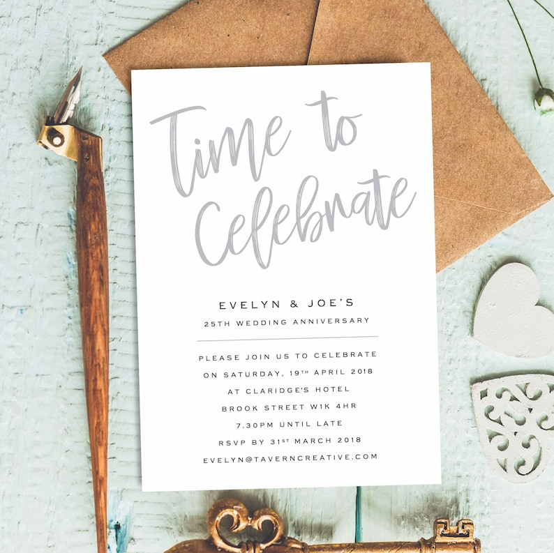 Anniversary Party Invitations 25 Years Invitation 10 Wedding Invites Celebration