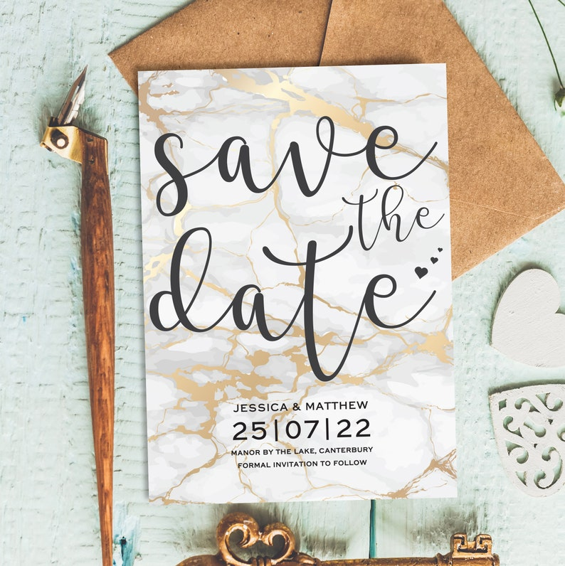Gold Wedding Save The Date Cards