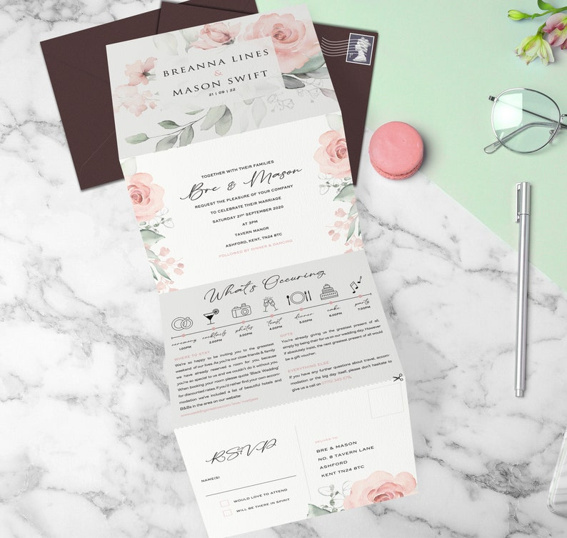 All In One Wedding Invitation, Wedding Invites Floral, Wedding Invitations  Concertina, Tri Fold, Trifold Invitation, Blush Floral, Timeline