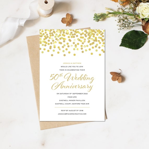 50th Anniversary Invitation Golden Wedding Party Anniversary Invitations Template Anniversary Party Invitation Anniversary Invitation