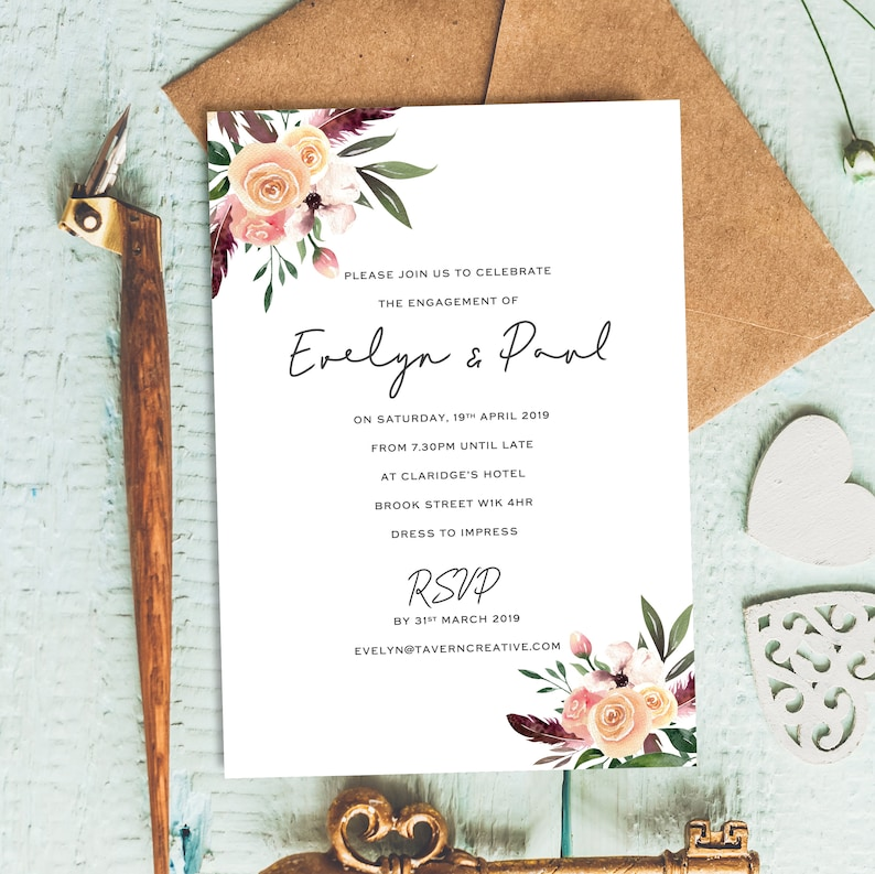 Invites Invitation Engagement Floral Image 0