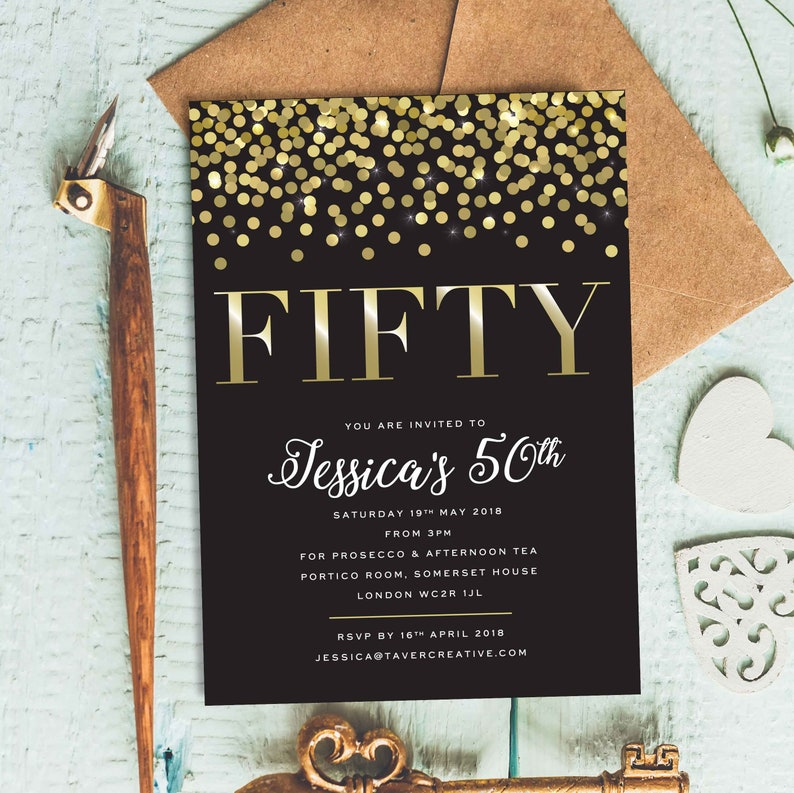 50th Birthday Invitation Black And Gold Invitations 40th