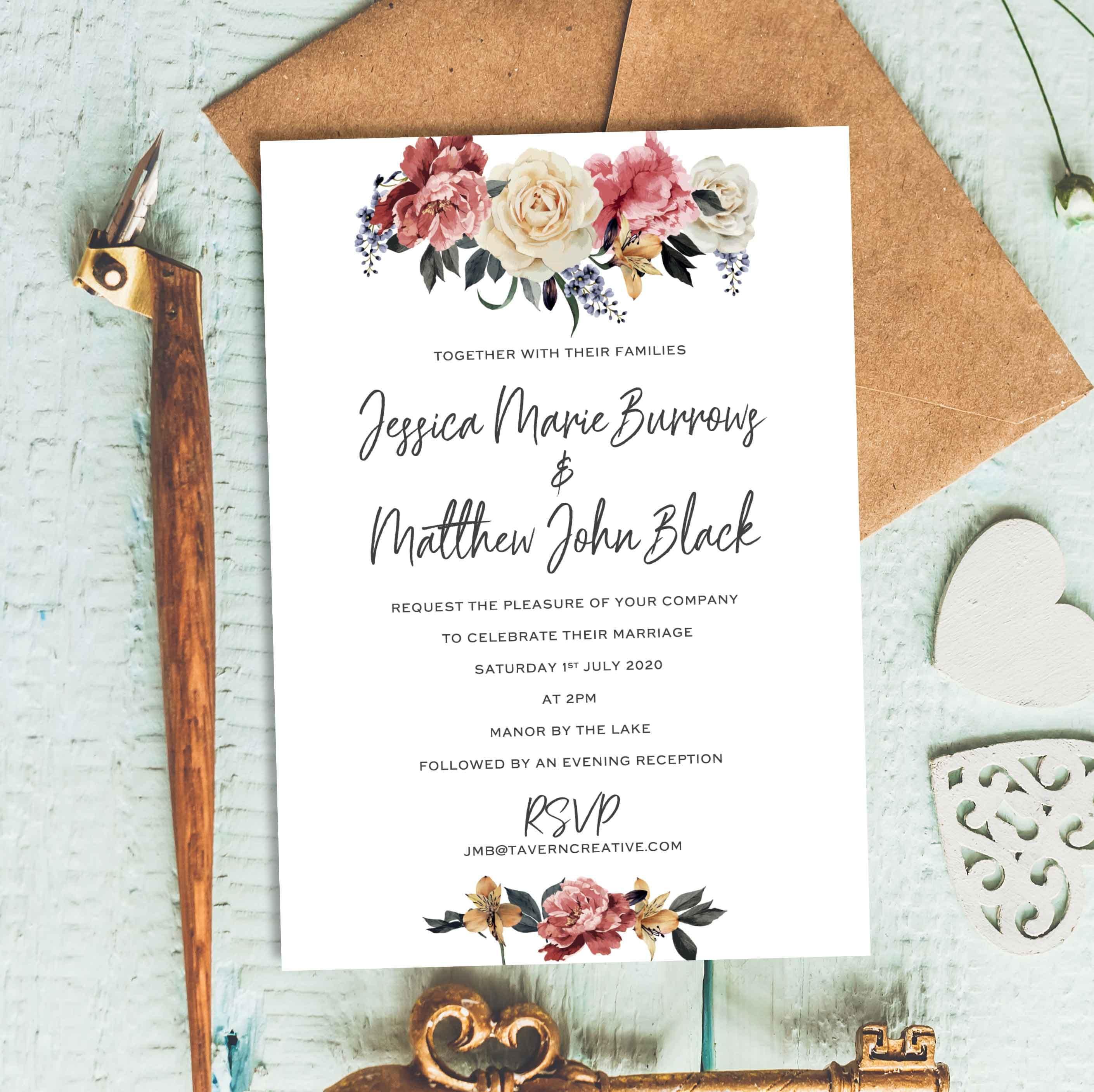 Floral Wedding Invitation Indian Wedding Invitations Mehndi Etsy
