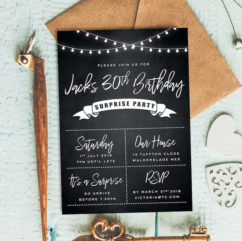 Chalkboard Invite 40th Birthday Invitations For Men