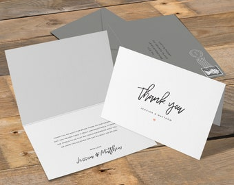 Simple Thank You Card, Wedding Thank You Cards, Simple, Elegant, Calligraphy, Blush, Unique, Quality, Boho, Rustic, Personalised, Custom