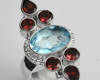 Sterling Silver Blue Topaz Ring, Silver Ring, Blue Topaz-Garnet Ring, Garnet, Blue Topaz, Designer, Carved  .925 Sterling Silver Ring